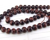 "One Full Strand -- Charm Luster Red Tiger Eye Stone Gemstone Beads--- 8mm ----about 48Pieces---- 15"" in length"