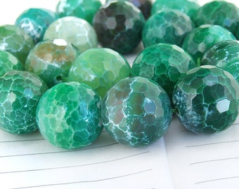 "Big Round Faceted Full Strand Dark Green Agate Beads ----- 20mm ----- about 20Pieces ----- gemstone beads--- 15.5"" in length"