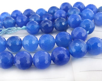 "Round Faceted Full Strand Blue chalcedony Agate Beads ----- 8mm ----- about 48Pieces ----- gemstone beads--- 15"" in length"
