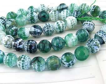 "Big Round Faceted Full Strand Dragon Snowflake Green Agate Beads ----- 8mm ----- about 48Pieces ----- gemstone beads--- 14"" in length"