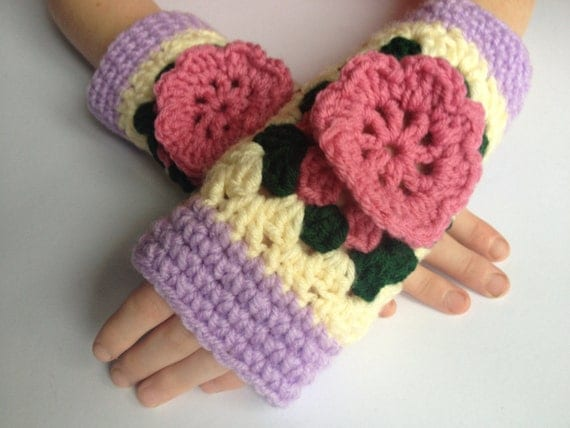 BUY1GET1HALFPrice Ooak womens unique purple,cream,pink crochet/knitted fingerless mittens,gloves,hand,arm warmers, crochet flower square.