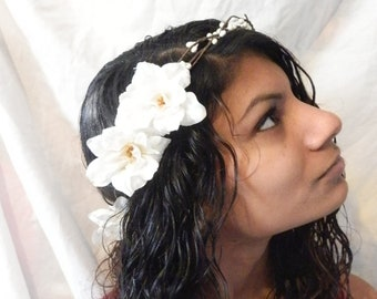 White pip berry ivory bridal floral delphinium blossom hairpiece crown wreath