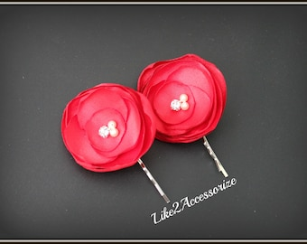 Red Flower Clip Bobby Pin Bridal Hair Piece Bridesmaid Gift Wedding Hair Accessories Set of Two Wedding Flowers for Hair Bridal Hair Flower