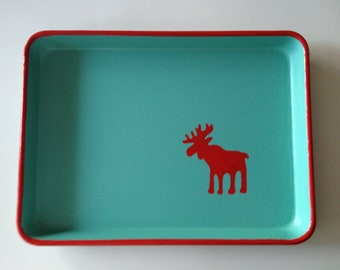M red moose turquoise tray