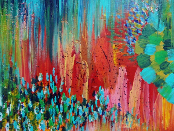 SALE - REVISIONED RETRO 11 x 14 Free Shipping Abstract Acrylic Painting Rainbow Color Modern Home Decor Christmas Gift Under 125 Autumn Art