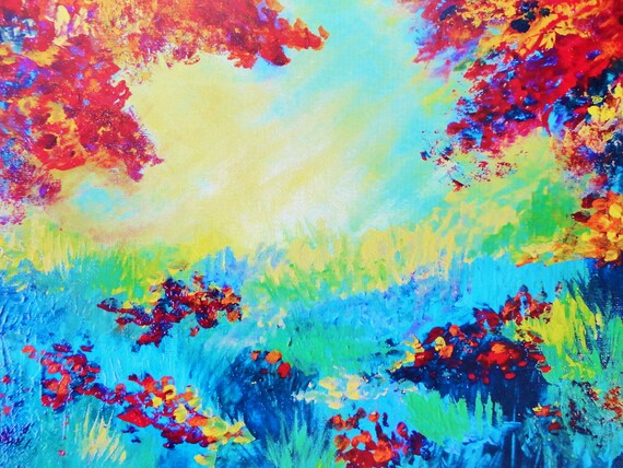 RESERVED LISTING - Original Acrylic Painting, Serene Forest
