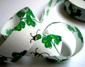 "Clovers Cotton Ribbon Trim, Green / White, 7/8"" inch wide, 1 yard, For Scrapbook, Decor, Accessories, Mixed Media"