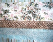 """Floral Stripes Fabric, Fat Quarter, Blue / Brown, 18"""" X 22"""" inches, 100% Cotton, For Victorian & Romantic Projects"""