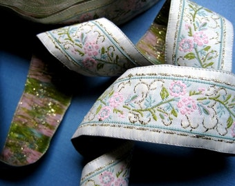 Jacquard Embroidered Ribbon, White / Pink / Gold / Moss / Sage, 1 1/4 inch wide, 1 yard, For Home Decor, Accessories, Apparel