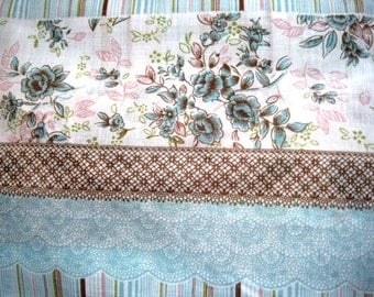 "Floral Stripes Fabric, Fat Quarter, Blue / Brown, 18"" X 22"" inches, 100% Cotton, For Victorian & Romantic Projects"