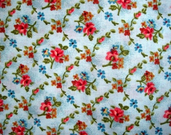 "Floral Bouquets In Aqua Fabric, Fat Quarter, Multicolor, 18"" X 22"" inches, 100% Cotton, For Victorian & Romantic Projects"