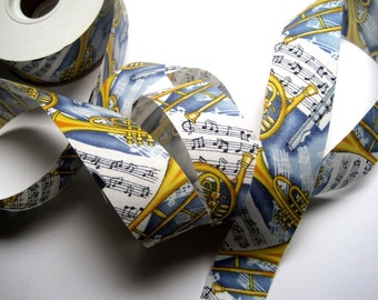"Musical Instruments Cotton Ribbon Trim, Multi Color / Blue, 1 3/8"" inch wide, 1 yard, For Victorian & Romantic Crafts"