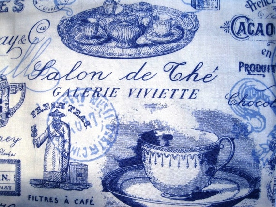 """Vintage - Inspired  Paris French Tea Fabric, Fat Quarter,  Blue / Cream, 18"""" X 22"""" inches, 100% Cotton, For Victorian & Romantic Projects"""