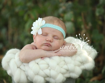 Antique Aqua and Ivory Silk Flower Headband, Newborn Headband, Baby Girl Headband, Baby Girl Flower Headband, Photography Prop