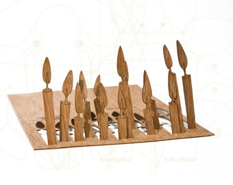postcard wood - 3 candles cards