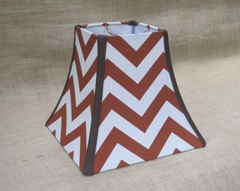 Lamp Shade Chevron Zig Zag Lampshade in Rust and Brown - READY TO SHIP