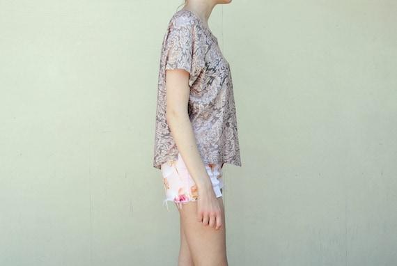 SALE MAE.VALENTE Vintage Pink Floral Lace Top