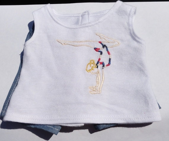 American Girl Doll Clothes - Red, White and Blue Gymnastic Embroidered T-Shirt with Pair of Denim Shorts - 18 doll clothing