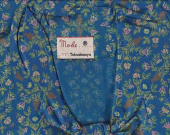 Rare 60s vintage collectible Japanese Takashimaya royal blue brand floral fitted mid-century secretary dress: size 2-4 US XSmall