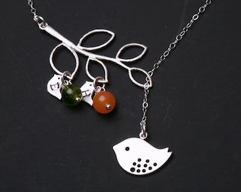 Bird initial,Bird Necklace,Mom and baby,Mother Jewelry,Initial necklace,Mother's day,Family Bird,Lariat Sterling Silver Necklace