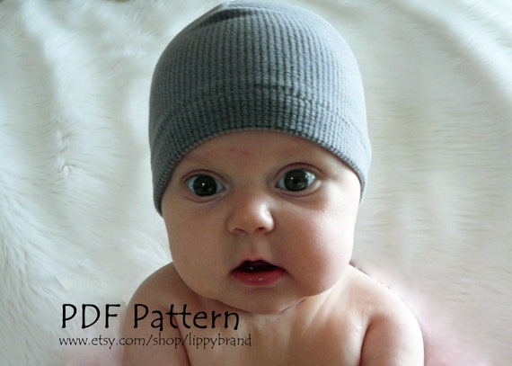 Baby hat pattern. PDF format. A basic beanie in three sizes, embellish as you like.  -With permission to sell finished items-