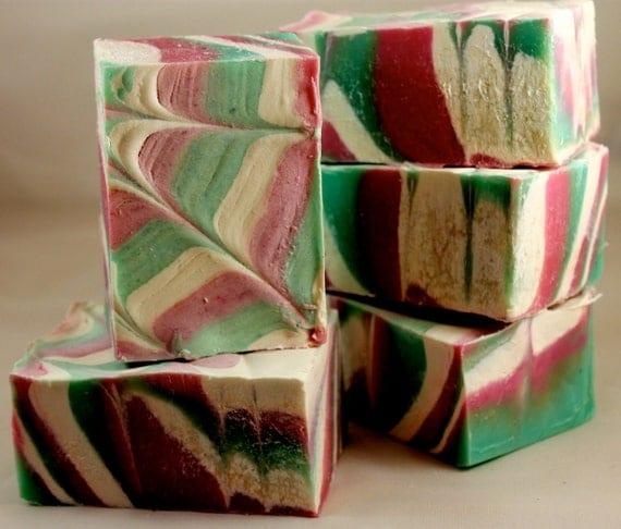 Preppy Pink and Green Swirl Natural Shea & Mango Butter Luxury Artisan Vegan Soap