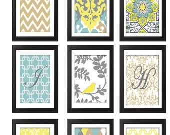 Digital Print Wall Art Yellow Turquoise Taupe Grey Vintage / Modern inspired Wall Art -Set of (9) - 8x11 Prints -   (UNFRAMED)