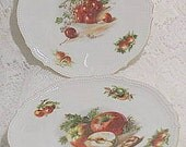 Collector plates  porcelain Silesia Germany Victorian era c1914 cherry apple fruit motif kitchen home decor