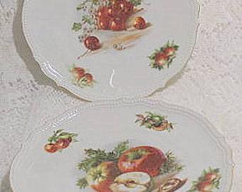 Vintage porcelain fruit plates PK Silesia c1914 lot of 2