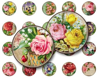 70% OFF SALE Flowers collage sheet Digital Collage sheet 1x1 inch for jewelry circle pendants, magnets digital collage sheet