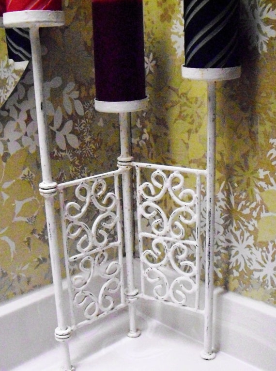 Vintage Candle Holder Shabby Chic White Iron Chippy Paint