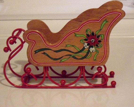 Vintage Wood Sleigh Christmas Display