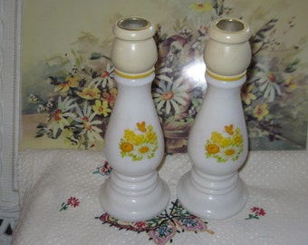 Avon Collectible Candle Stick Holders,,Butter Cup Candle Stick Bottles, Milk Glass Candles,Avon Collectibles,Candles,
