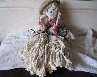 Mop Doll Cat  so Fun, Rag Doll, Cat,Vintage Doll,Vintage Home Decor, country decor,  :)S