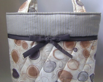 Quilted Tote: Grey Cappuccino
