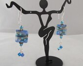 Periwinkle Chicklet Drops with Crystal Dangles