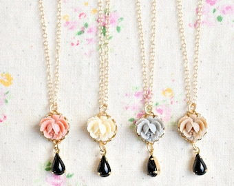 FOUR Little Rose and Black Charm Necklaces -112 Dollars- 14K Gold Filled Chains