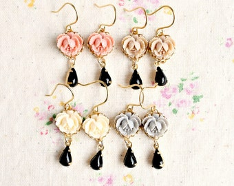 Four Bridesmaids Little Roses and Black Charm Dangle Earrings for Eighty Dollars