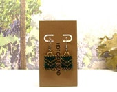 Handmade Forest Green Chevron Peyote Earring, Gift