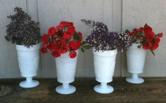 Reserve Listing for Nicole Smith Milk Glass Set of 6 Glasses or Vases,Harvest Pattern, Pedestal Goblets