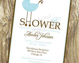 Baby Carriage - Baby Shower Invitations (Baby Boy), DIY Printable, digital file (item 1054)