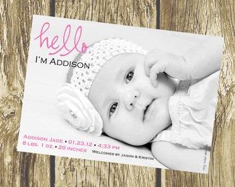 Hello Baby Announcement (Girl or Boy), DIY Printable, digital file (item 1068)