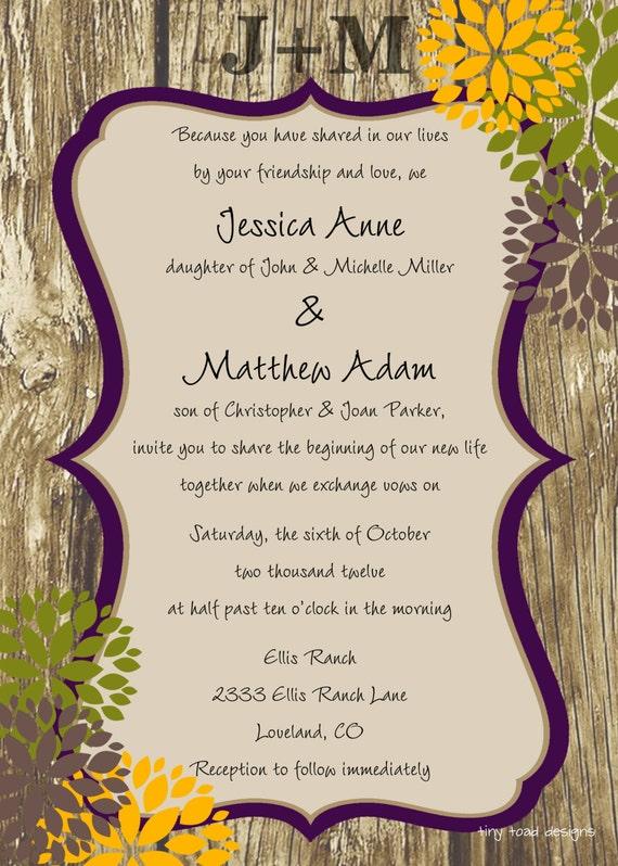 Engraved Love Rustic with Flowers Wedding Invitation or Bridal Shower Invitation, DIY Printable, digital file (item 1016)
