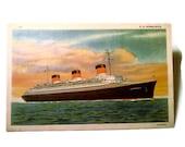 Vintage Linen Postcard C T Art Colortone of S.S. Normandie1940's