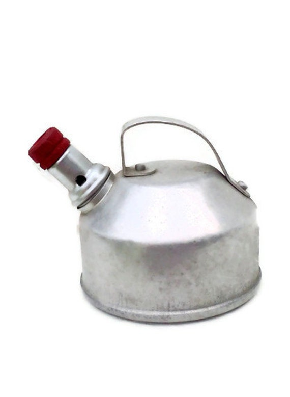 RESERVED FOR CAROL Vintage Toy Tin Tea Kettle Red Retro Kitchen Collectible