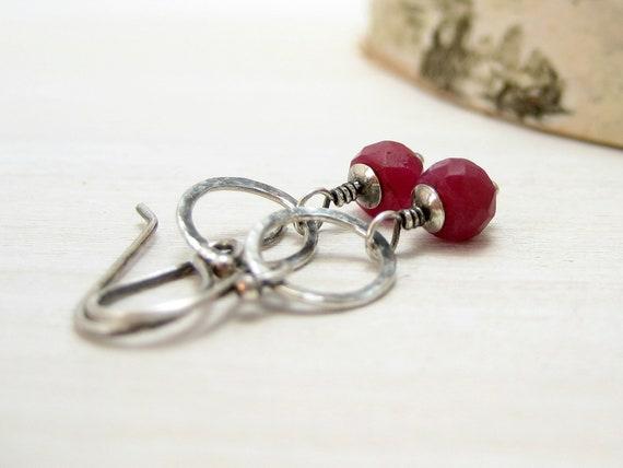 Genuine Ruby Earrings, Sterling Silver Raspberry Red July Birthstone Dangle Earrings