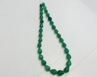 14 Inche 30 pieces  Green Color Chalcedony Faceted  Drop Shape Supper Quality Size 10X14 mm To 7X9mm Approx