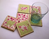 6 wooden coasters covered with fabric. Free shipping