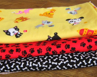Pink Minky Handmade Baby Burp Cloths, Dogs, Puppies, Set of Three Burpcloths, Baby Shower Gift, Red and Black Dog Bones, MONOGRAM Available