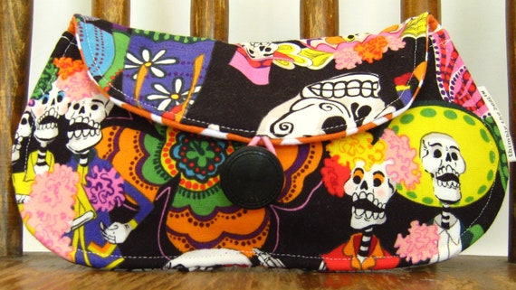 Cotton Fabric Women's Wallet, Ladies Clutch, Skeleton Fabric, Day of the Dead Wedding, Handmade Accessories, Womens